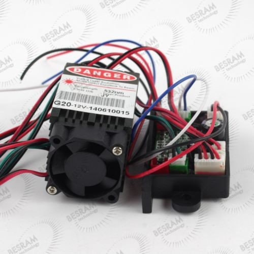 3450 50mW-70mW 532nm Green DOT Laser Module TTL TEC Fan 12V