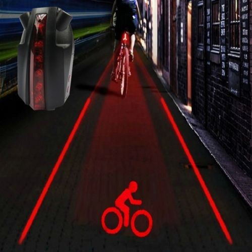Bike Bicycle Intelligent Laser 5 LED Rear Light Cycling Tail Light D-Type